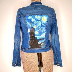 Wax Jean denim jacket with hand painted back